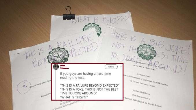 "Insult or criticism? DLSU prof writes ""AUTOMATIC FAIL"" on students' papers"