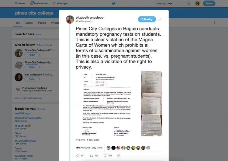 A Baguio college is forcing their students to take pregnancy tests