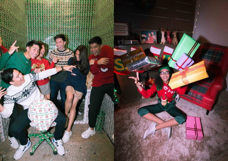 We wore ugly Christmas sweaters to our year-ender party