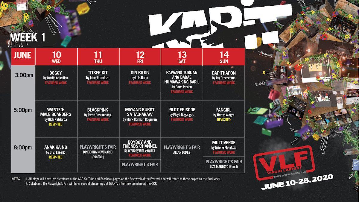 week one schedule virgin labfest
