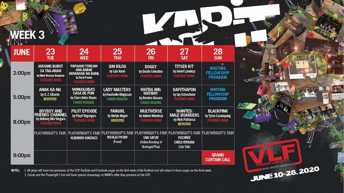 week three schedule virgin labfest