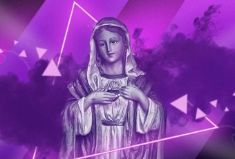 We're praying to 'Chromatica' with UST's Our Lady of Sorrows pubmat