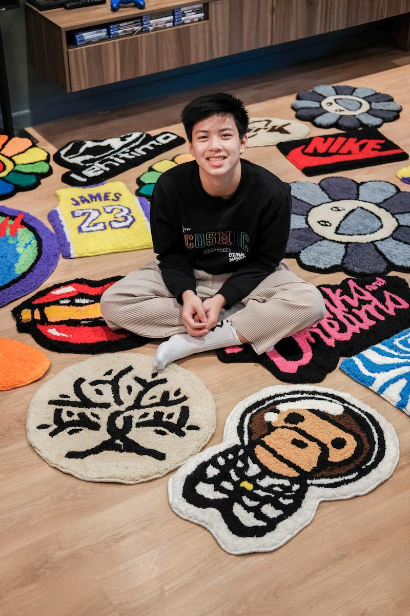 Zeno Cruz with his created rugs
