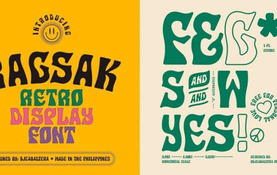 Your next fave font is the funky, '60s-inspired 'Ragsak'