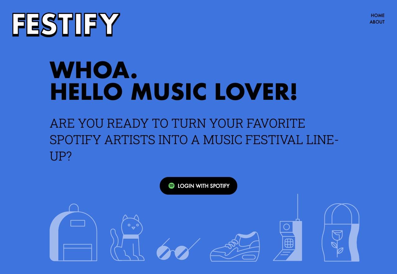 Homepage of Festify