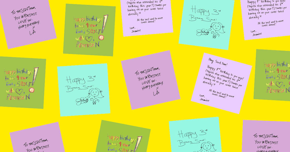 Our Scout friends and family wrote us some sweet birthday messages