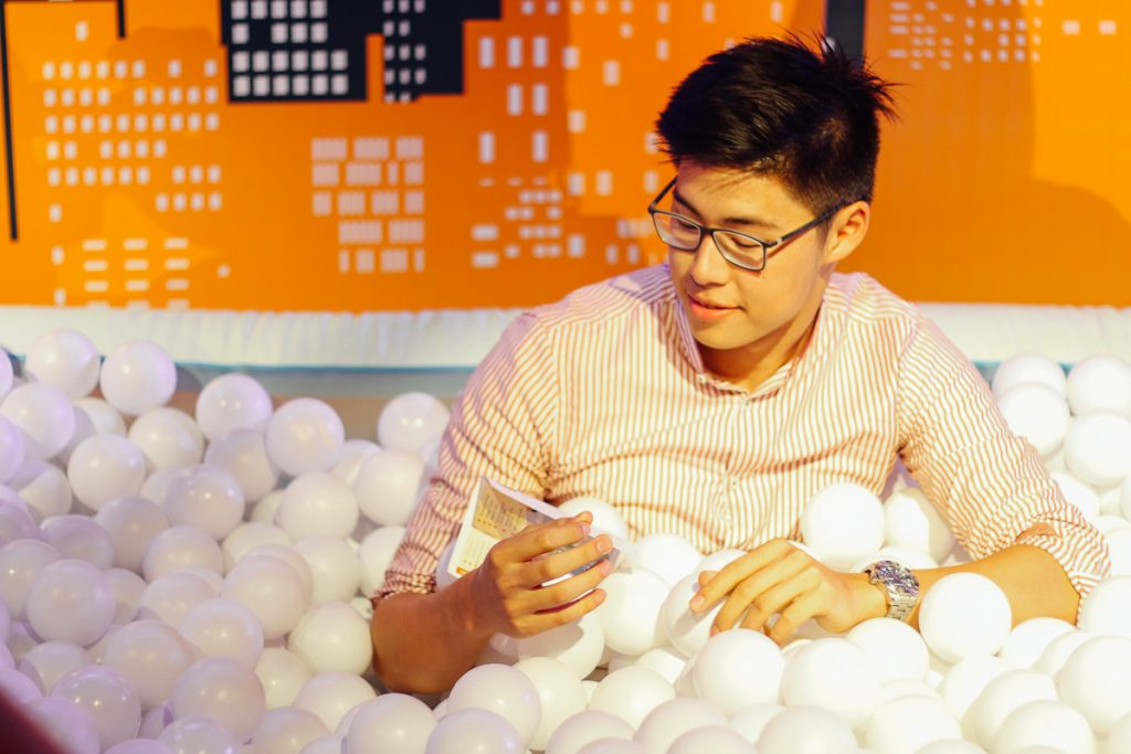 Athlete-turned-blogger Johan Aguilar relaxing in the ball pit from Ball Pit Manila