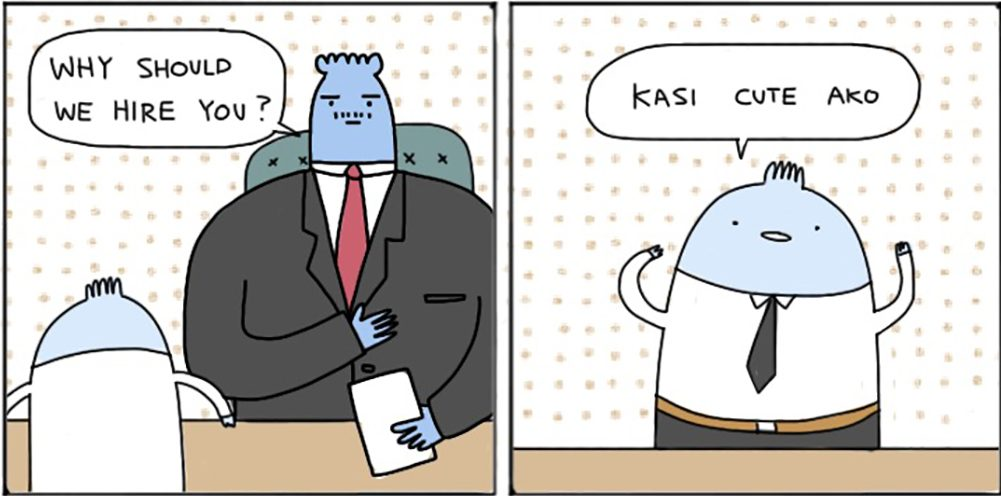 The blue gentleman in Janjan Comics