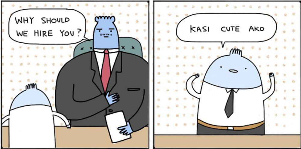 The blue gentleman in Janjan Comics