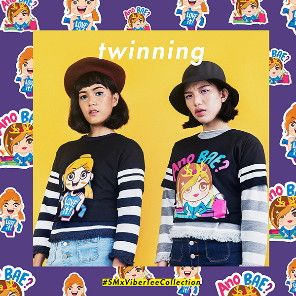 """ON STEPH: WWW beret, GTW by SM longsleeve top (worn under), SM x VIBER """"Love It!"""" T-shirt, and TRUE LOVE skirt ON STEFFI: WWW hat, GTW by SM longsleeve top (worn under), SM x VIBER """"Ano Bae?"""" T-shirt, and TRUE LOVE skirt"""