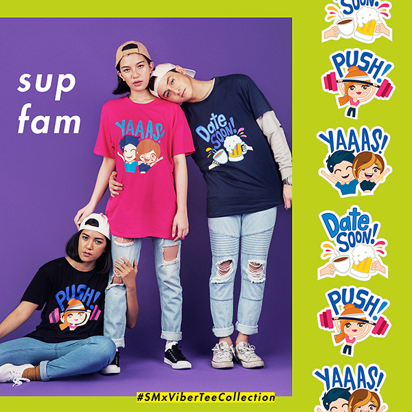 "ON STEPH: WWW cap, SM x VIBER ""Push!"" T-shirt, TRUE LOVE jeans, KICKS sneakers ON STEFFI: WWW cap, SM x VIBER ""Yaaas!"" T-shirt, TRUE LOVE jeans and KICKS sneakers On DAN: WWW cap, SM x VIBER ""Date Soon!"" T-shirt, TANK longsleeve top (worn under), and TANK joggers"